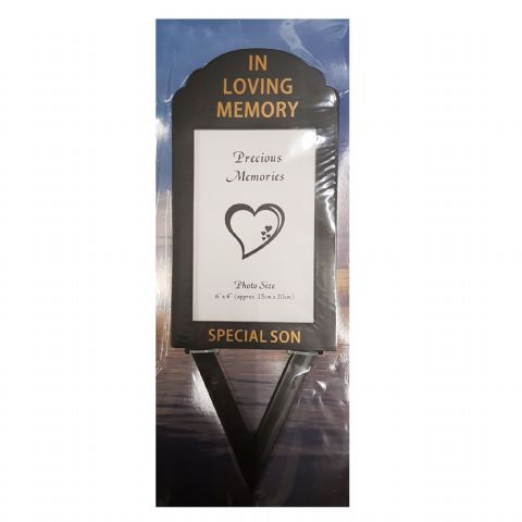 Special Son In Loving Memory - Photo Frame Holder Memorial Grave Spike By David Fischhoff